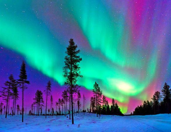 Aurora boreal en la Laponia Sueca