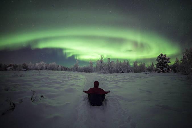 Aurora boreal en Saariselka, Finlandia