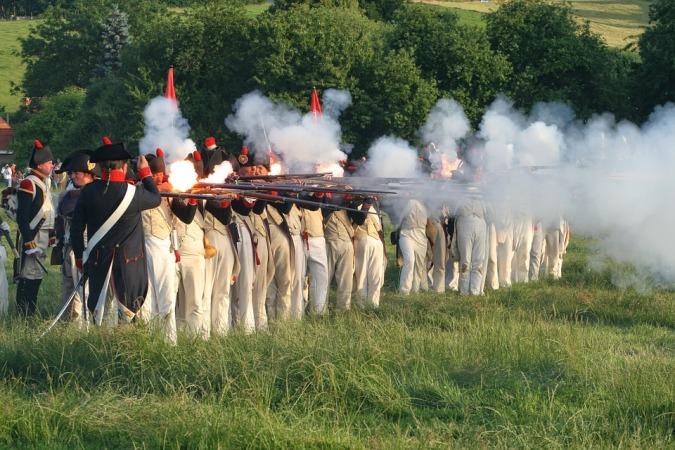 Recreación histórica de la Batalla de Waterloo, en Bélgica