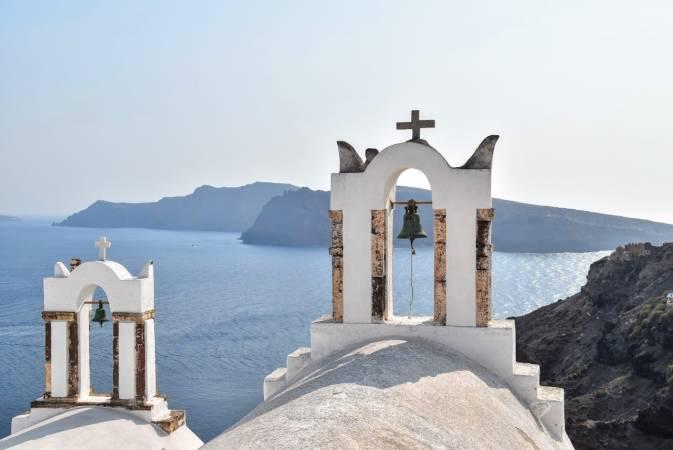 Fira, capital de Santorini, en Grecia