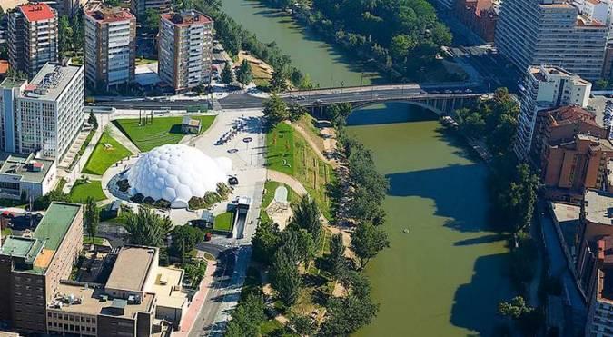 Panorámica de Valladolid, la Cúpula del Milenio y el río Pisuerga