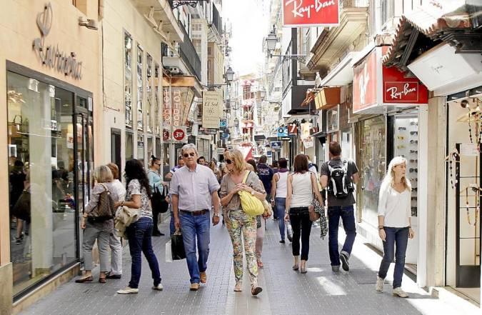 Zona comercial en el centro de Palma de Mallorca
