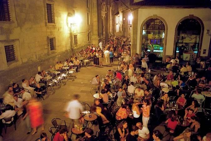 Ambiente nocturno en Santiago de Compostela