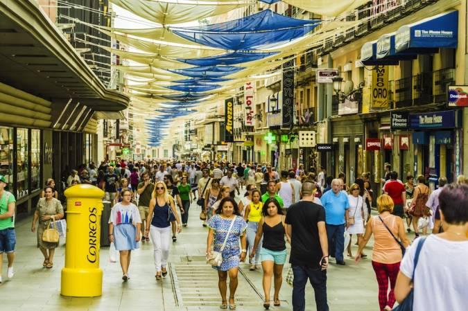 Zona comercial de la calle Preciados, en Madrid