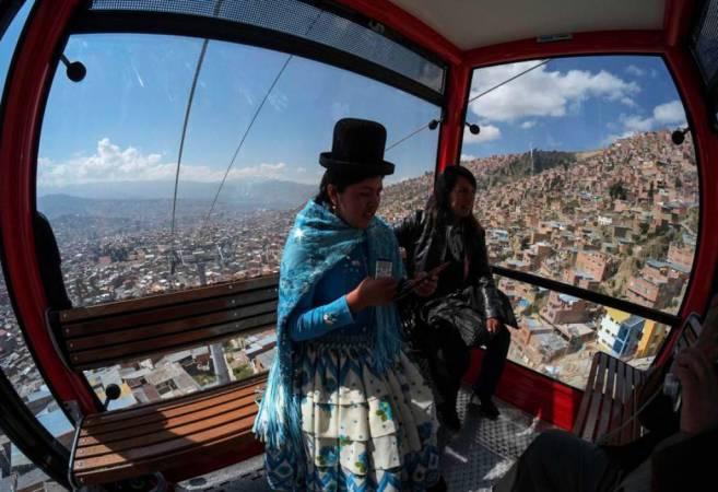 Teleférico de la ciudad de La Paz, en Bolivia