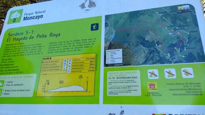 Indicaciones para el Hayedo de Peña Roya, en el Parque Natural del Moncayo