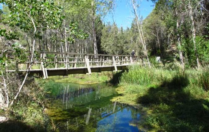 Puente de madera sobr el río Abión, en Soria