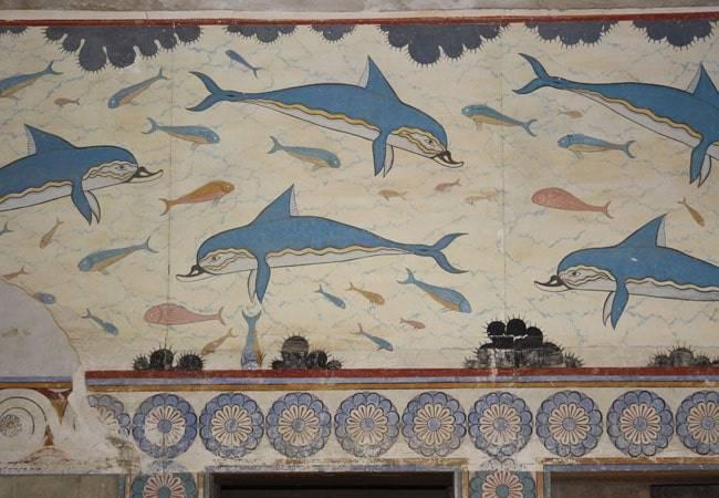 Fresco de los Delfines en Knossos
