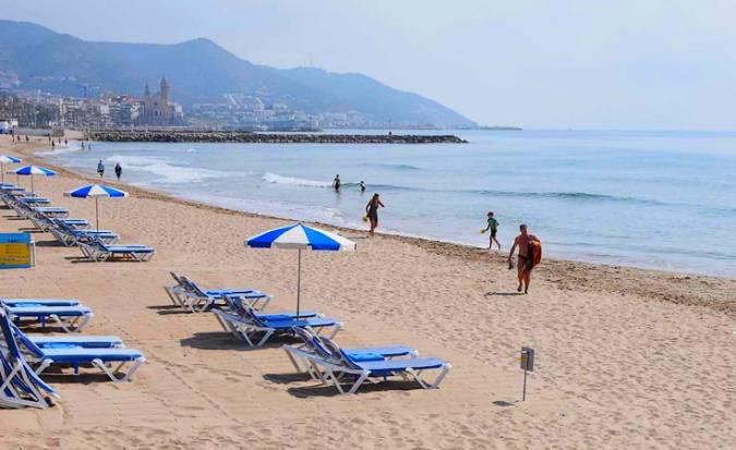 Playa de L'Estanyol, en Sitges, Barcelona