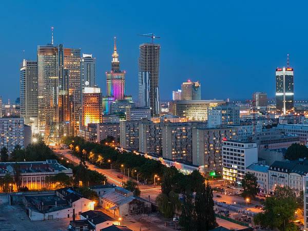 La zona moderna de Varsovia, en Polonia
