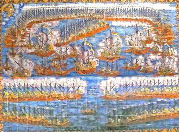 Mural cerámico de Lepanto, en la Capilla del Roser, en Valls